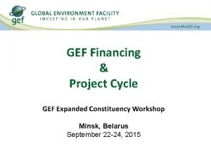 GEF Financing Project Cycle GEF Expanded Constituency Workshop