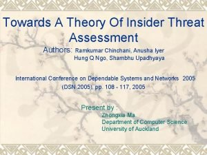 Towards A Theory Of Insider Threat Assessment Authors