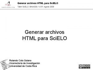 Generar archivos HTML para Sci ELO Taller Sci