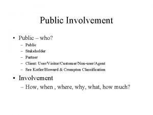 Public Involvement Public who Public Stakeholder Partner Client