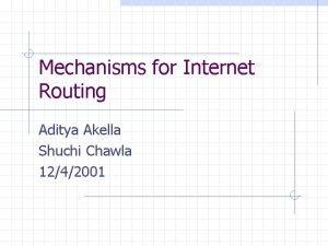 Mechanisms for Internet Routing Aditya Akella Shuchi Chawla