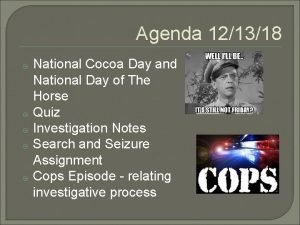 Agenda 121318 National Cocoa Day and National Day
