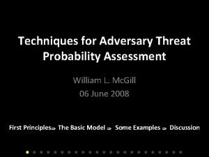Techniques for Adversary Threat Probability Assessment William L