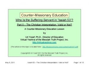 CounterMissionary Education Who Is the Suffering Servant in