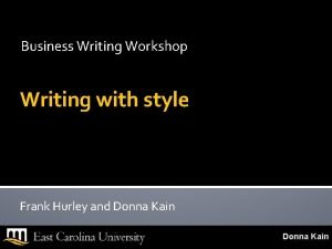 Business Writing Workshop Writing with style Frank Hurley