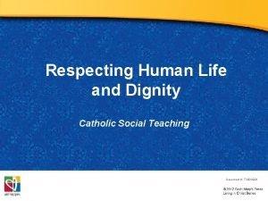 Respecting Human Life and Dignity Catholic Social Teaching
