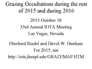 Grazing Occultations during the rest of 2015 and