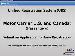 Unified Registration System URS Motor Carrier U S