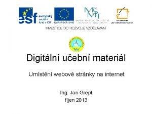 Digitln uebn materil Umstn webov strnky na internet