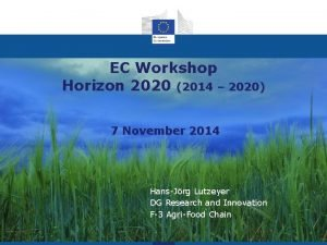 EC Workshop Horizon 2020 2014 2020 7 November