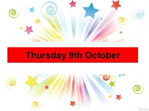 Thursday 9 th October All Year Groups Hockey