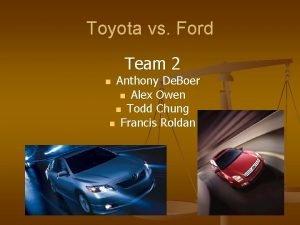 Toyota vs Ford Team 2 Anthony De Boer