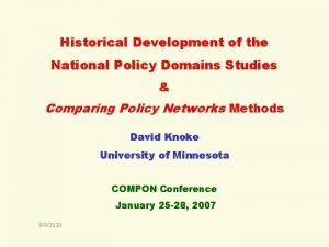 Historical Development of the National Policy Domains Studies