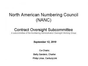 North American Numbering Council NANC Contract Oversight Subcommittee
