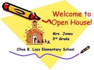 Welcome to Open House Mrs Jones 3 rd