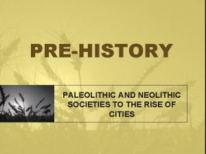 PREHISTORY PALEOLITHIC AND NEOLITHIC SOCIETIES TO THE RISE