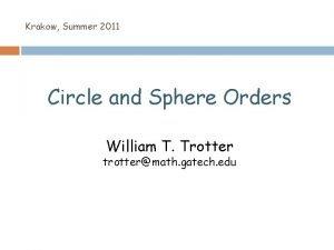 Krakow Summer 2011 Circle and Sphere Orders William