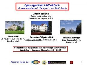 Spininjection Hall effect effect A new member of