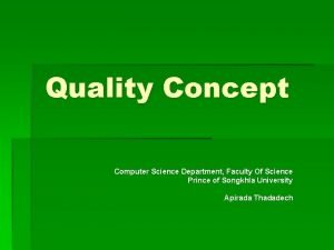 Quality Concept Computer Science Department Faculty Of Science