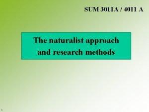 SUM 3011 A 4011 A The naturalist approach
