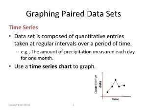 Graphing Paired Data Sets Time Series Data set