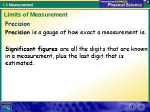 1 3 Measurement Limits of Measurement Precision is