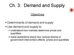 Ch 3 Demand Supply Objectives Determinants of demand