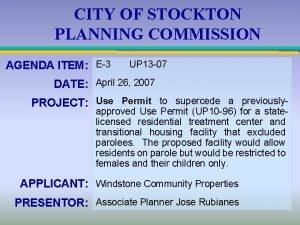 CITY OF STOCKTON PLANNING COMMISSION AGENDA ITEM E3