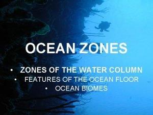 OCEAN ZONES ZONES OF THE WATER COLUMN FEATURES