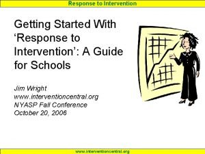Response to Intervention Getting Started With Response to