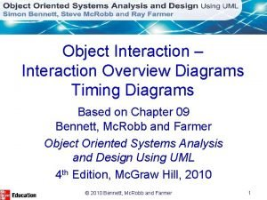 Object Interaction Interaction Overview Diagrams Timing Diagrams Based