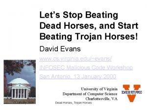 Lets Stop Beating Dead Horses and Start Beating