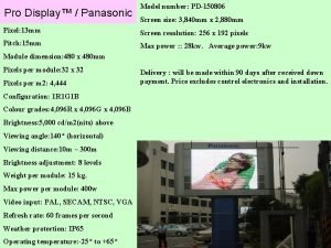 Pro Display Panasonic Model number PD150806 Screen size