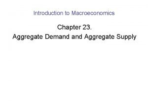 Introduction to Macroeconomics Chapter 23 Aggregate Demand Aggregate