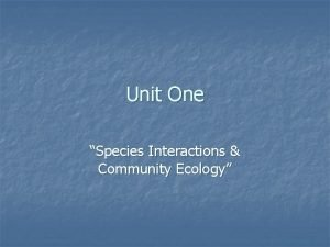 Unit One Species Interactions Community Ecology Divisions of