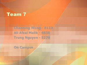 Team 7 Channing Wong 8113 Ali Afzal Malik