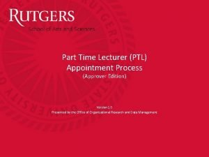 Part Time Lecturer PTL Appointment Process Approver Edition