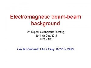 Electromagnetic beambeam background 2 nd Super B collaboration