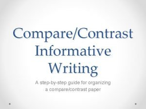 CompareContrast Informative Writing A stepbystep guide for organizing