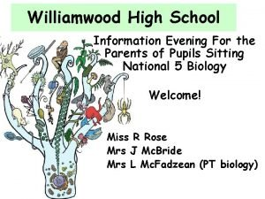 Williamwood High School Information Evening For the Parents