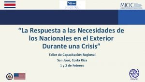 La Respuesta a las Necesidades de los Nacionales