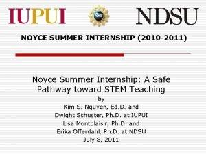 NOYCE SUMMER INTERNSHIP 2010 2011 Noyce Summer Internship