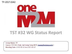 TP2017 0342 TST 32 WG Status Report Group