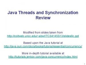 Java Threads and Synchronization Review Modified from slides