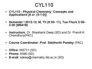 CYL 110 CYL 110 Physical Chemistry Concepts and