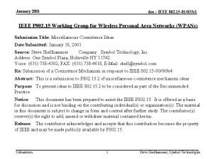 January 2001 doc IEEE 802 15 01033 r