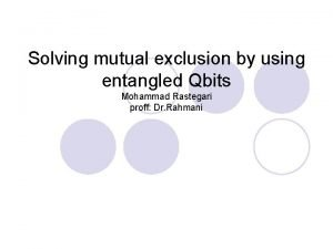 Solving mutual exclusion by using entangled Qbits Mohammad
