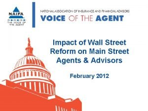 Impact of Wall Street Reform on Main Street
