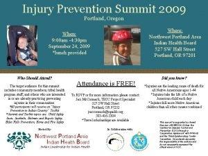 Injury Prevention Summit 2009 Portland Oregon Where Northwest