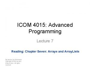 ICOM 4015 Advanced Programming Lecture 7 Reading Chapter
